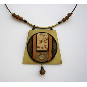 Collier assemblage laiton textile bois